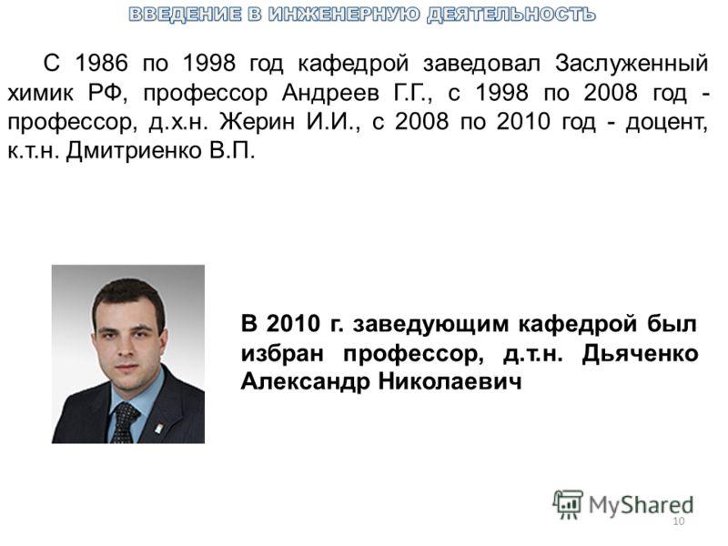 10 С 1986 по 1998 год кафедрой заведовал Заслуженный химик РФ, профессор Андреев Г.Г., с 1998 по 2008 год - профессор, д.х.н. Жерин И.И., с 2008 по 2010 год - доцент, к.т.н. Дмитриенко В.П. В 2010 г. заведующим кафедрой был избран профессор, д.т.н. Д