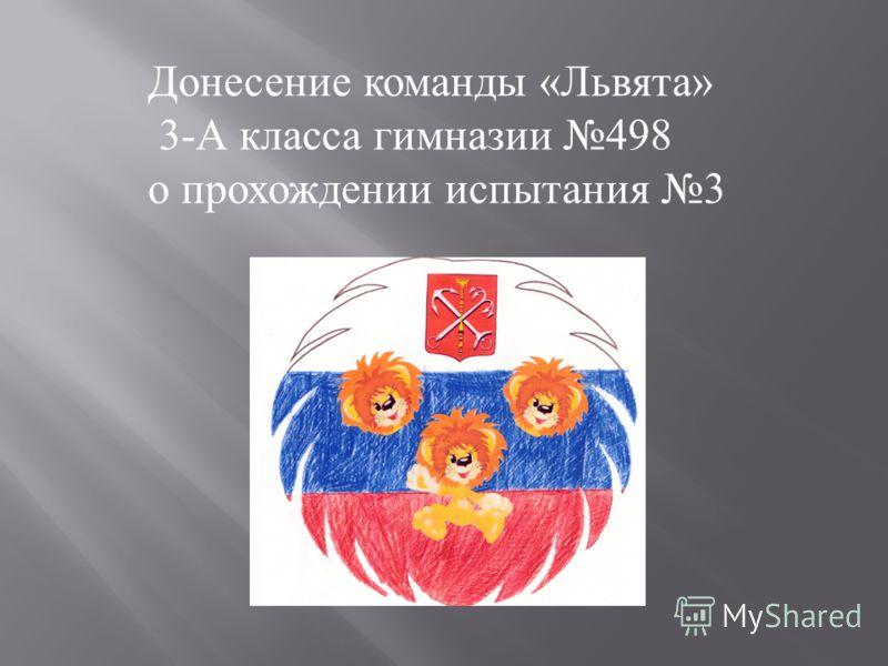 Донесение команды «Львята» 3-А класса гимназии 498 о прохождении испытания 3