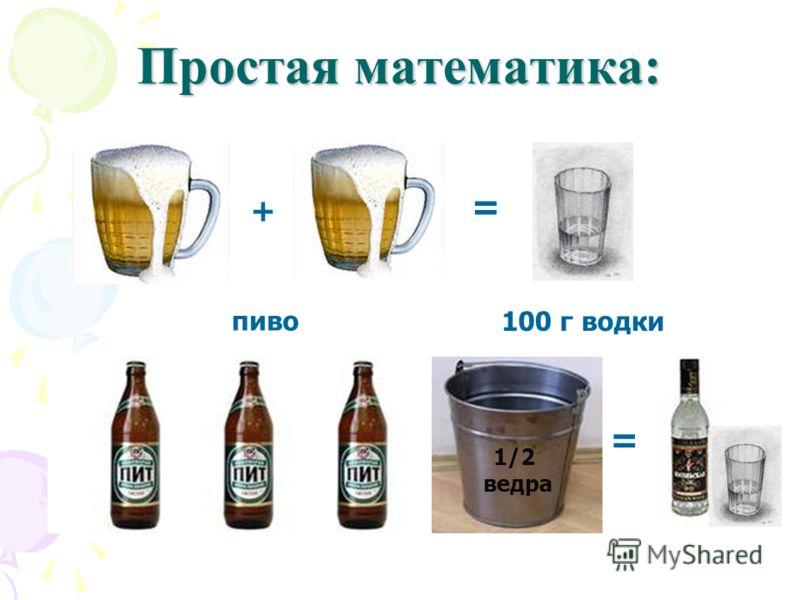 + = пиво 100 г водки Простая математика: + + = 1/2 ведра =