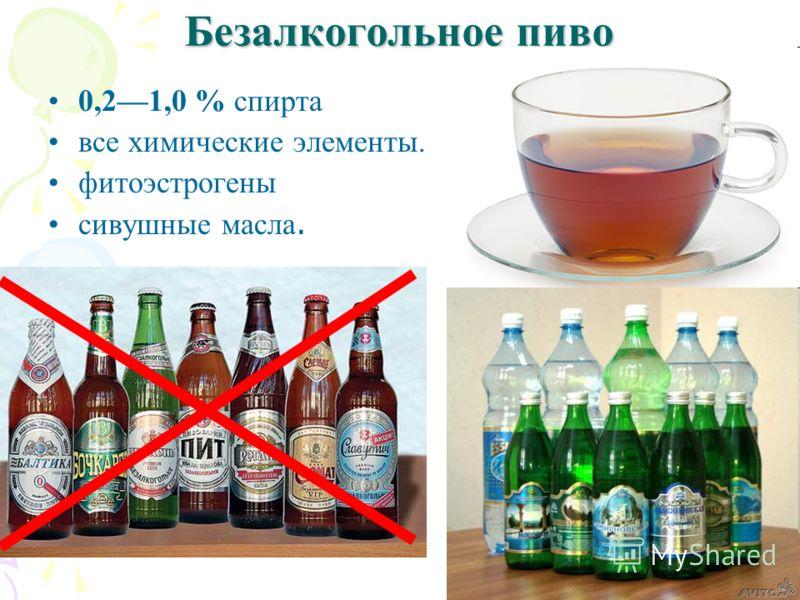 Безалкогольное пиво 0,21,0 % спирта все химические элементы. фитоэстрогены сивушные масла.