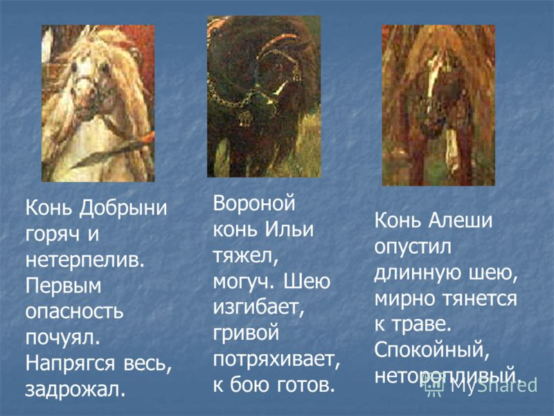 Конь Добрыни горяч и нетерпелив. Первым опасность почуял. Напрягся весь, задрожал. Вороной конь Ильи тяжел, могуч. Шею изгибает, гривой потряхивает, к бою готов. Конь Алеши опустил длинную шею, мирно тянется к траве. Спокойный, неторопливый.