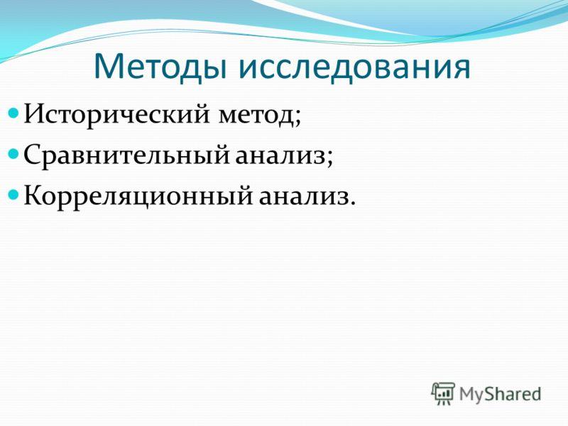 Методы исследования Исторический метод; Сравнительный анализ; Корреляционный анализ.