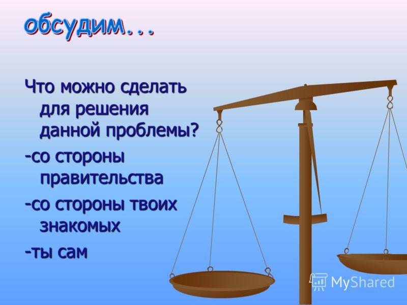 Что можно сделать для решения данной проблемы? -со стороны правительства -со стороны твоих знакомых -ты сам