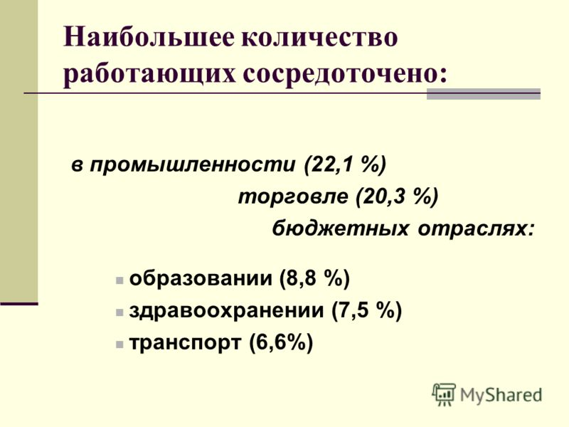 Наибольшее количество работающих сосредоточено: в промышленности (22,1 %) торговле (20,3 %) бюджетных отраслях: образовании (8,8 %) здравоохранении (7,5 %) транспорт (6,6%)