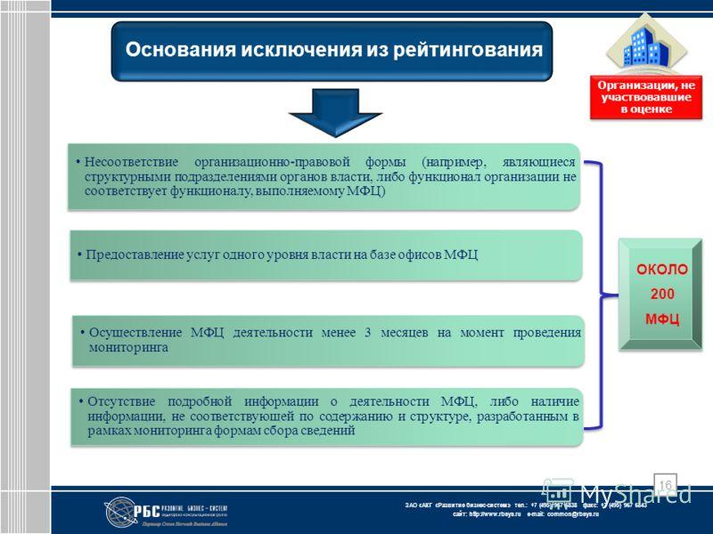 ЗАО « АКГ « Развитие бизнес-систем » тел.: +7 (495) 967 6838 факс: +7 (495) 967 6843 сайт: http://www.rbsys.ru e-mail: common@rbsys.ru Основания исключения из рейтингования Организации, не участвовавшие в оценке Несоответствие организационно-правовой