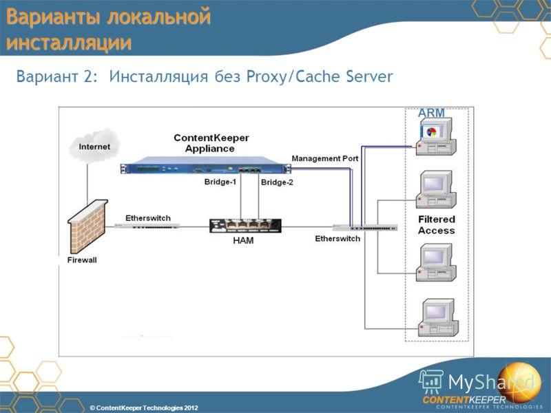 © ContentKeeper Technologies 2012 Варианты локальной инсталляции Вариант 2: Инсталляция без Proxy/Cache Server ARM