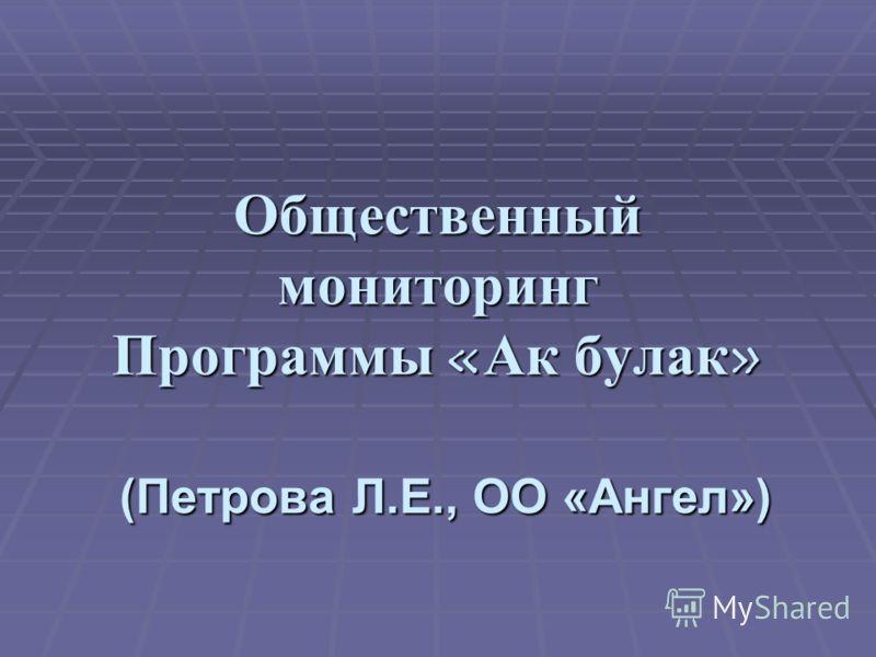 Общественный мониторинг Программы «Ак булак» (Петрова Л.Е., ОО «Ангел»)