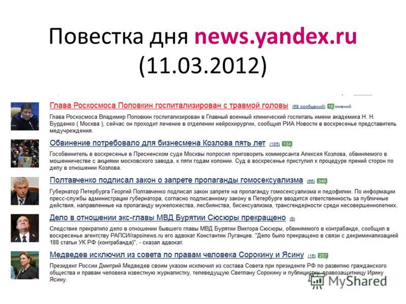 Повестка дня news.yandex.ru (11.03.2012)