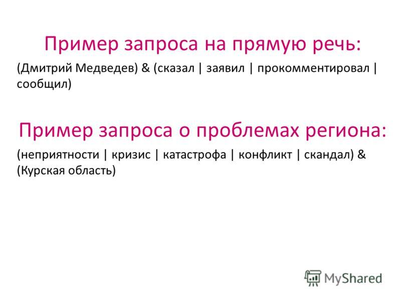 Пример запроса на прямую речь: (Дмитрий Медведев) & (сказал | заявил | прокомментировал | сообщил) Пример запроса о проблемах региона: (неприятности | кризис | катастрофа | конфликт | скандал) & (Курская область)