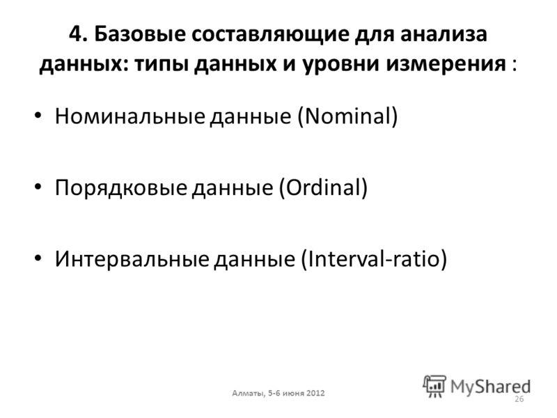 4. Базовые составляющие для анализа данных: типы данных и уровни измерения : Номинальные данные (Nominal) Порядковые данные (Ordinal) Интервальные данные (Interval-ratio) Алматы, 5-6 июня 2012 26