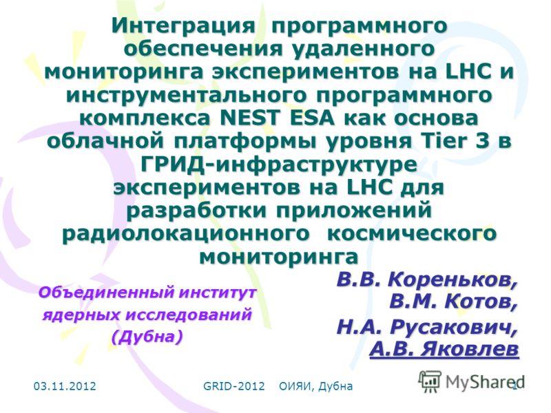 03.11.2012GRID-2012 ОИЯИ, Дубна 1 Интеграция программного обеспечения удаленного мониторинга экспериментов на LHC и инструментального программного комплекса NEST ESA как основа облачной платформы уровня Tier 3 в ГРИД-инфраструктуре экспериментов на L