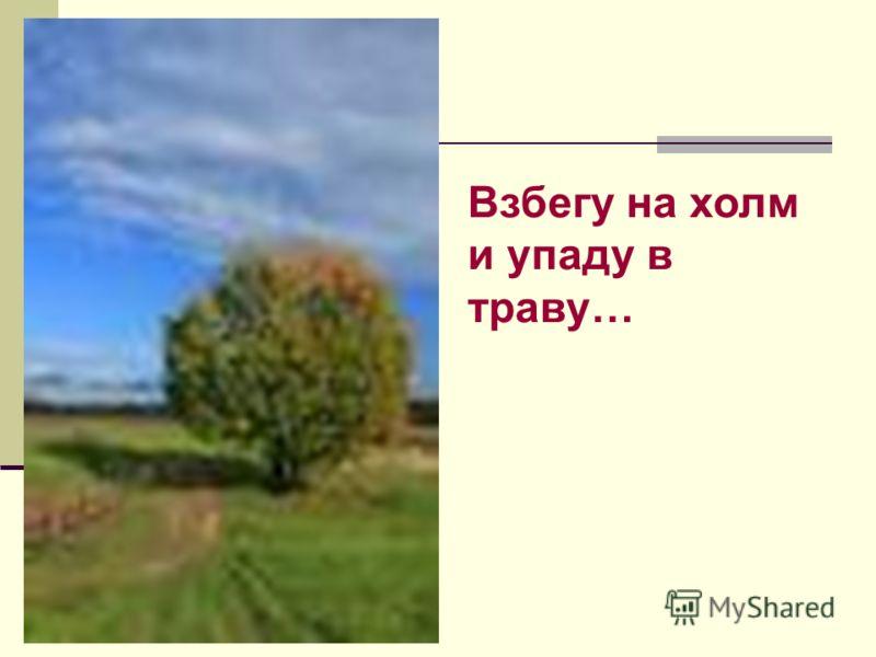 Взбегу на холм и упаду в траву…