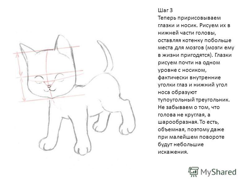 Шаг 3 Теперь пририсовываем глазки и носик. Рисуем их в нижней части головы, оставляя котенку побольше места для мозгов (мозги ему в жизни пригодятся). Глазки рисуем почти на одном уровне с носиком, фактически внутренние уголки глаз и нижний угол носа