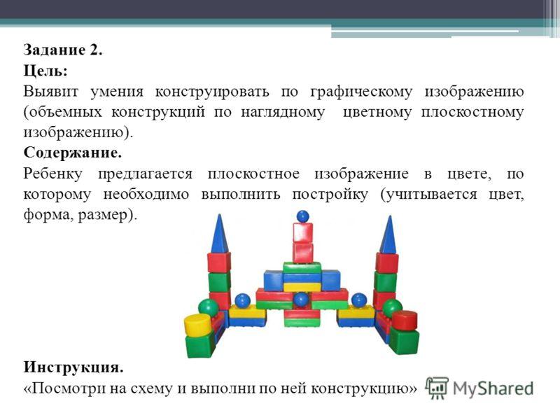 Задание 2. Цель: Выявит умения конструировать по графическому изображению (объемных конструкций по наглядному цветному плоскостному изображению). Содержание. Ребенку предлагается плоскостное изображение в цвете, по которому необходимо выполнить постр