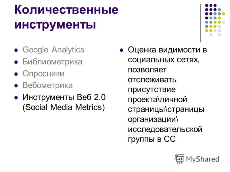 Оценка видимости в социальных сетях, позволяет отслеживать присутствие проекта\личной страницы\страницы организации\ исследовательской группы в СС Google Analytics Библиометрика Опросники Вебометрика Инструменты Веб 2.0 (Social Media Metrics) Количес