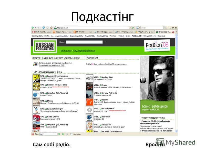 Подкастінг Сам собі радіо.Rpod.ru