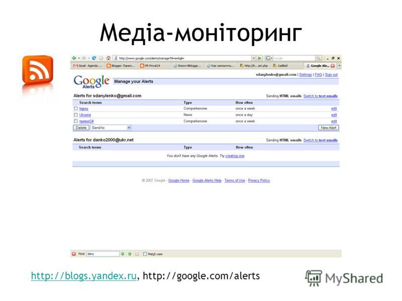 Медіа-моніторинг http://blogs.yandex.ruhttp://blogs.yandex.ru, http://google.com/alerts