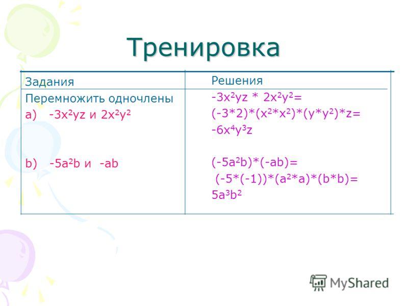 Правило: Чтобы найти произведение одночленов нужно перемножить их числовые множители и степени с одинаковыми основаниями Запомни!!! Например: (3a 2 b 5 c)*(6a 3 bc 2 )= =(3*6)*(a 2 *a 3 )*(b 5 *b)*(c*c 2 ) =18a 5 b 6 c 3