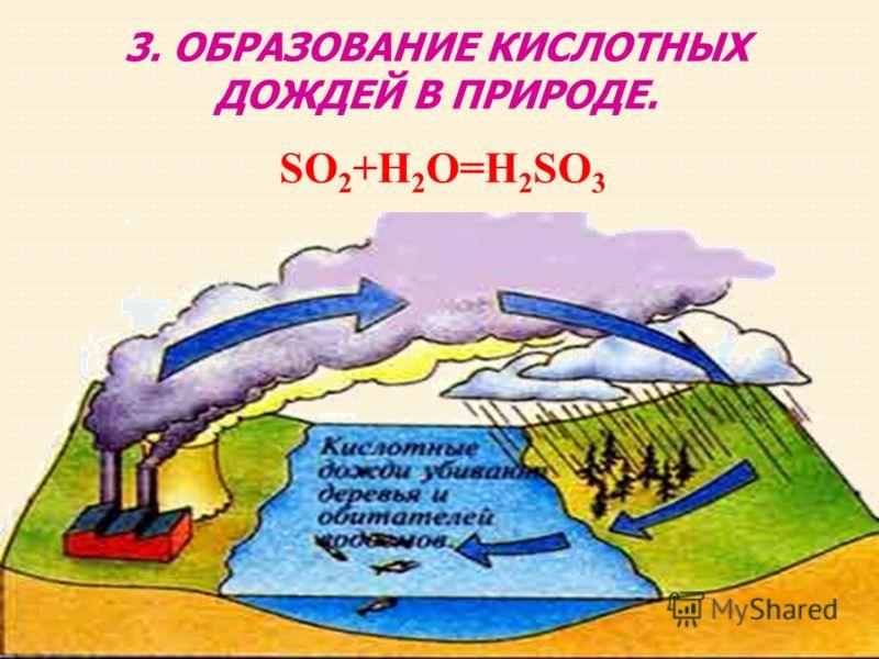 SO 2 +H 2 O=H 2 SO 3 3. ОБРАЗОВАНИЕ КИСЛОТНЫХ ДОЖДЕЙ В ПРИРОДЕ.