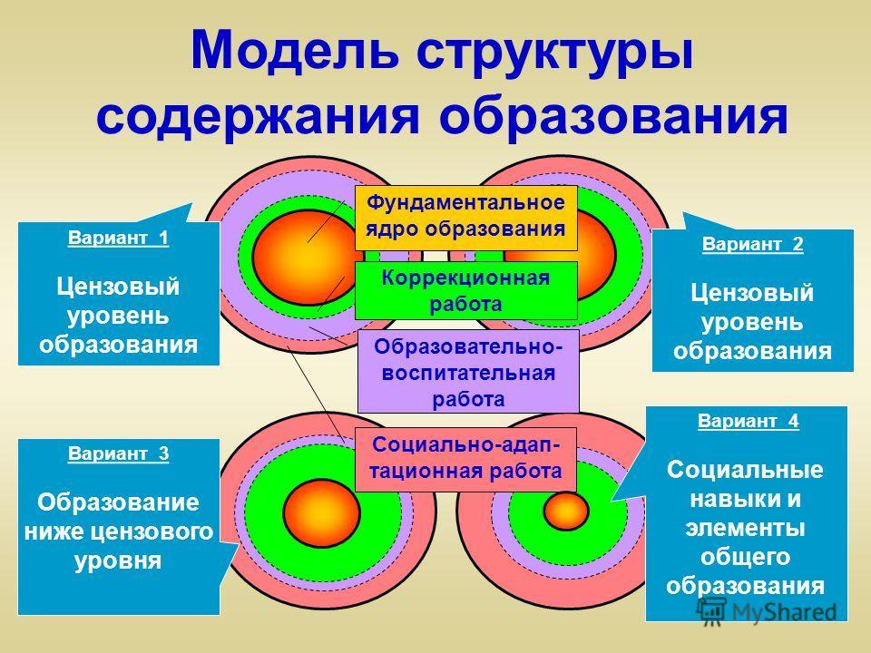 Модель структуры содержания образования Вариант 2 Цензовый уровень образования Вариант 1 Цензовый уровень образования Вариант 3 Образование ниже цензового уровня Вариант 4 Социальные навыки и элементы общего образования Коррекционная работа Фундамент
