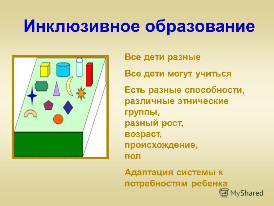 Инклюзивное образование Все дети разные Все дети могут учиться Есть разные способности, различные этнические группы, разный рост, возраст, происхождение, пол Адаптация системы к потребностям ребенка