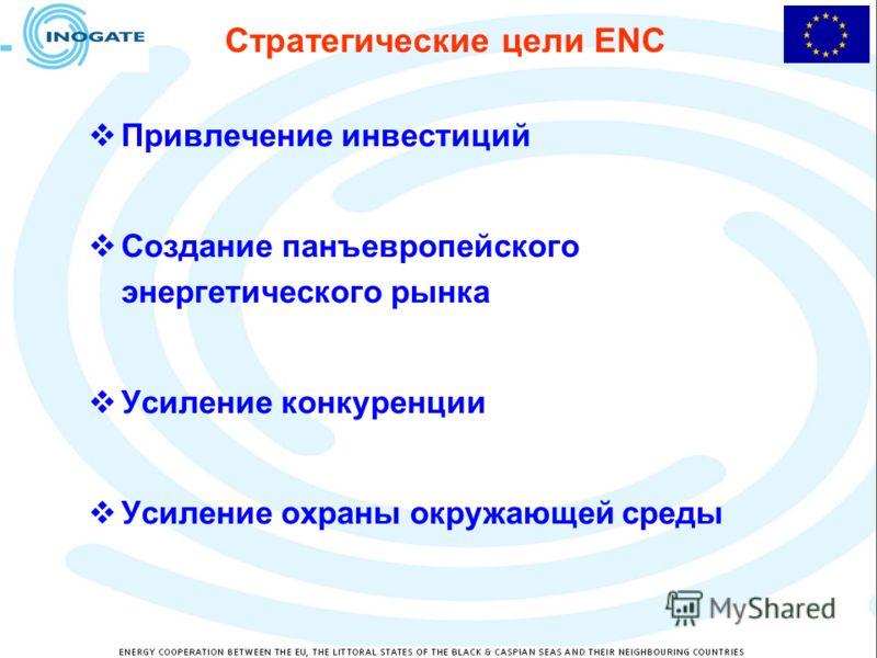 Стратегические цели ENC Привлечение инвестиций Создание панъевропейского энергетического рынка Усиление конкуренции Усиление охраны окружающей среды