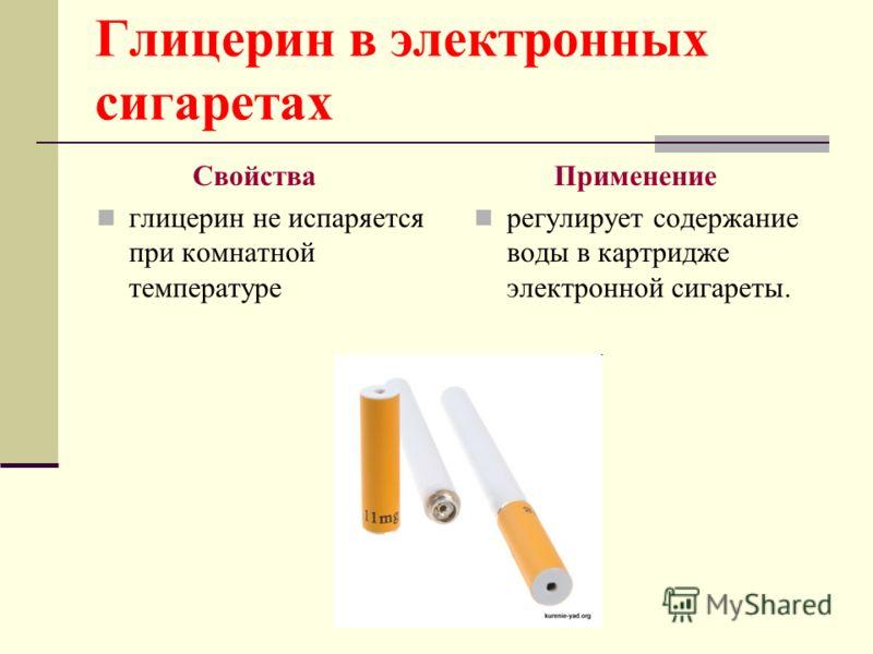 Глицерин в электронных сигаретах Свойства глицерин не испаряется при комнатной температуре Применение регулирует содержание воды в картридже электронной сигареты.