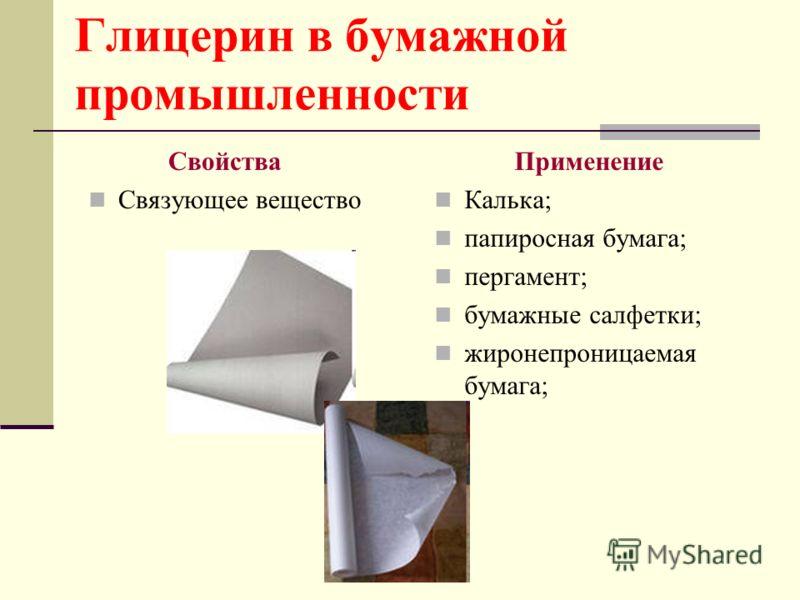 Глицерин в бумажной промышленности Свойства Связующее вещество Применение Калька; папиросная бумага; пергамент; бумажные салфетки; жиронепроницаемая б