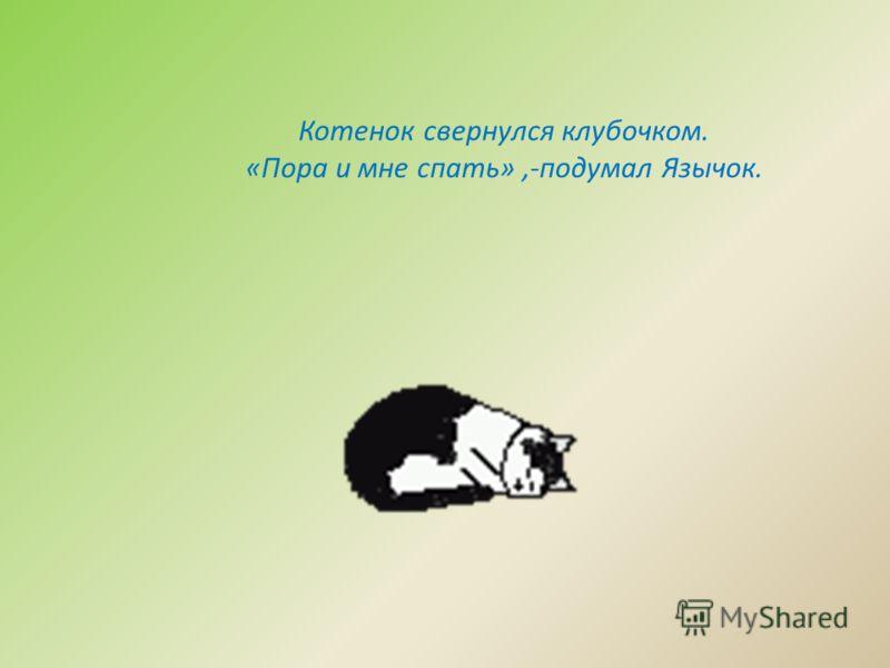 Котенок свернулся клубочком. «Пора и мне спать»,-подумал Язычок.
