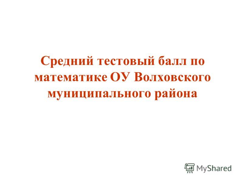 Средний тестовый балл по математике ОУ Волховского муниципального района