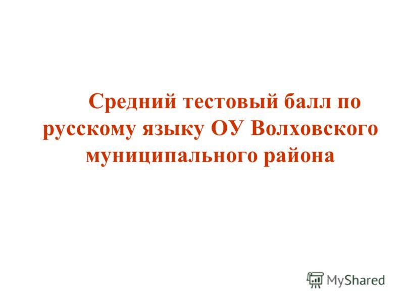 Средний тестовый балл по русскому языку ОУ Волховского муниципального района