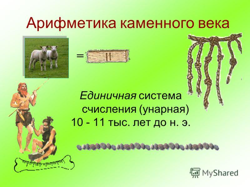 Арифметика каменного века Единичная система счисления (унарная) 10 - 11 тыс. лет до н. э. =