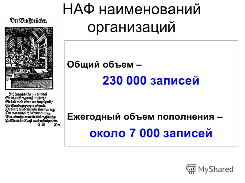 НАФ наименований организаций Общий объем – 230 000 записей Ежегодный объем пополнения – около 7 000 записей