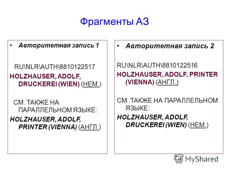 Фрагменты АЗ Авторитетная запись 1 RU\NLR\AUTH\8810122517 HOLZHAUSER, ADOLF, DRUCKEREI (WIEN) (НЕМ.) СМ. ТАКЖЕ НА ПАРАЛЛЕЛЬНОМ ЯЗЫКЕ: HOLZHAUSER, ADOLF, PRINTER (VIENNA) (АНГЛ.) Авторитетная запись 2 RU\NLR\AUTH\8810122516 HOLZHAUSER, ADOLF, PRINTER