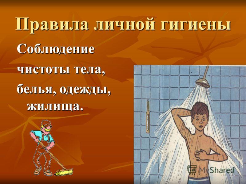 Правила личной гигиены Соблюдение чистоты тела, белья, одежды, жилища.