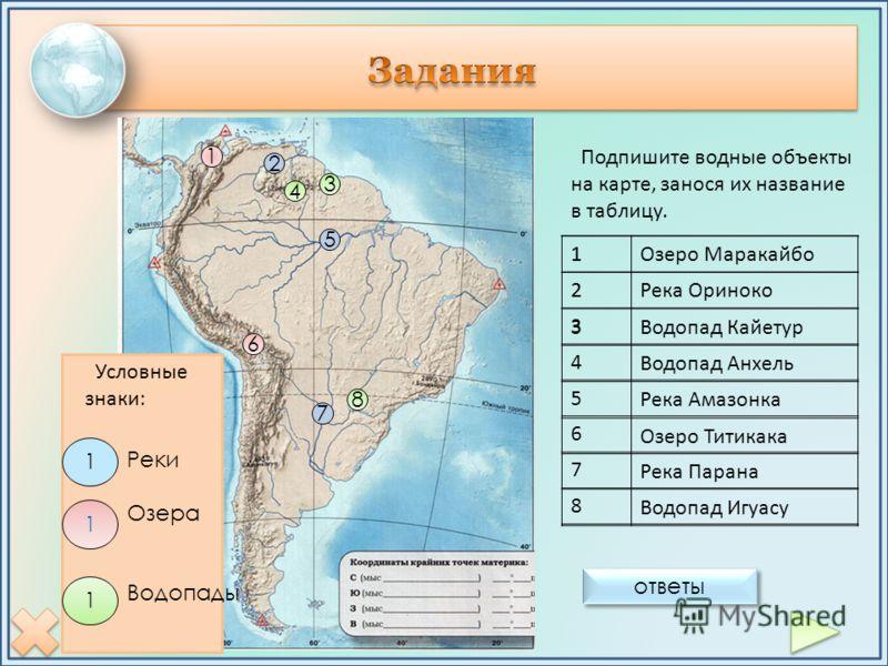 Условные знаки: 5 7 2 6 1 4 8 3 Подпишите водные объекты на карте, занося их название в таблицу. 1 2 3 4 5 6 7 8 1Озеро Маракайбо 2Река Ориноко 3Водопад Кайетур Водопад Анхель Река Амазонка Озеро Титикака Река Парана Водопад Игуасу ответы 1 1 1 Реки