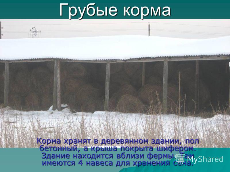 Грубые корма Корма хранят в деревянном здании, пол бетонный, а крыша покрыта шифером. Здание находится вблизи фермы. Там имеются 4 навеса для хранения сена.