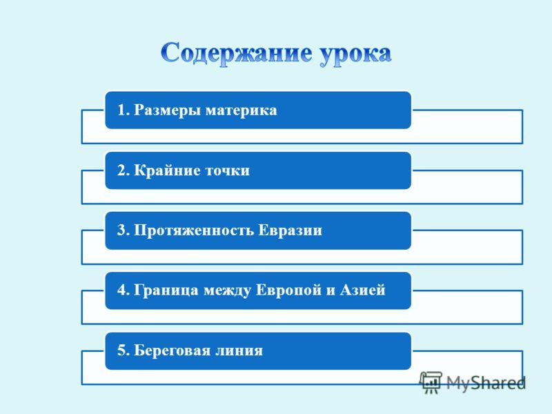 1. Размеры материка2. Крайние точки3. Протяженность Евразии4. Граница между Европой и Азией5. Береговая линия