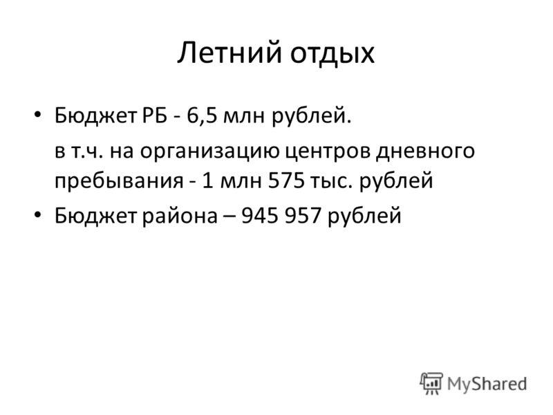 Летний отдых Бюджет РБ - 6,5 млн рублей. в т.ч. на организацию центров дневного пребывания - 1 млн 575 тыс. рублей Бюджет района – 945 957 рублей