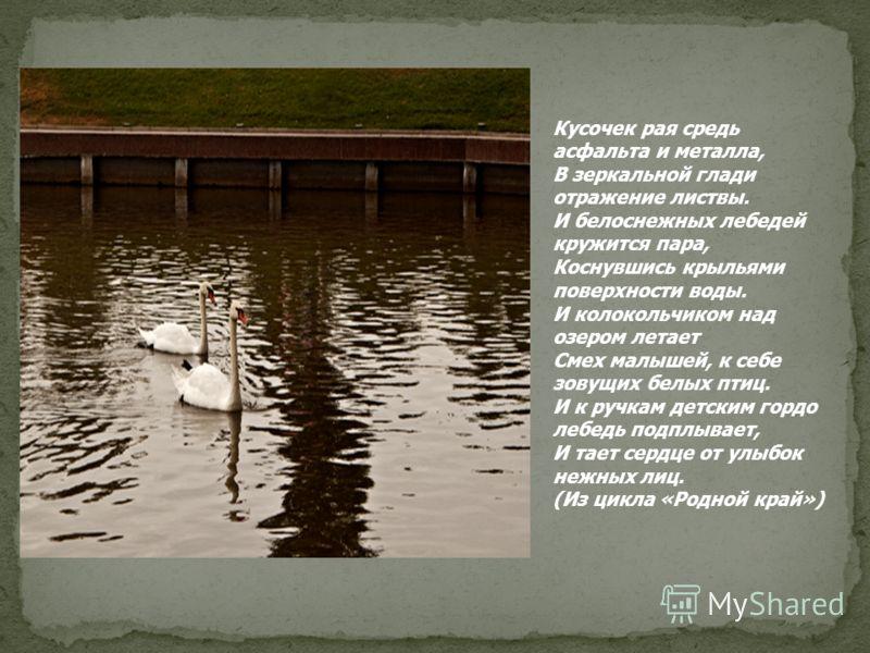 Кусочек рая средь асфальта и металла, В зеркальной глади отражение листвы. И белоснежных лебедей кружится пара, Коснувшись крыльями поверхности воды. И колокольчиком над озером летает Смех малышей, к себе зовущих белых птиц. И к ручкам детским гордо