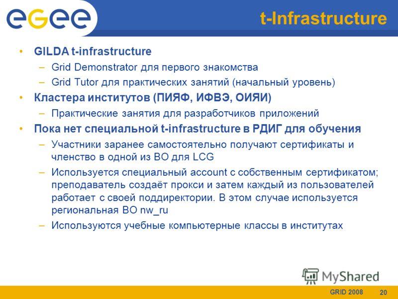 GRID 2008 20 t-Infrastructure GILDA t-infrastructure –Grid Demonstrator для первого знакомства –Grid Tutor для практических занятий (начальный уровень) Кластера институтов (ПИЯФ, ИФВЭ, ОИЯИ) –Практические занятия для разработчиков приложений Пока нет