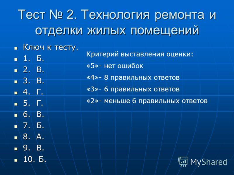Тест 2. Технология ремонта и отделки жилых помещений Ключ к тесту. Ключ к тесту. 1. Б. 1. Б. 2. В. 2. В. 3. В. 3. В. 4. Г. 4. Г. 5. Г. 5. Г. 6. В. 6. В. 7. Б. 7. Б. 8. А. 8. А. 9. В. 9. В. 10. Б. 10. Б. Критерий выставления оценки: «5»- нет ошибок «4