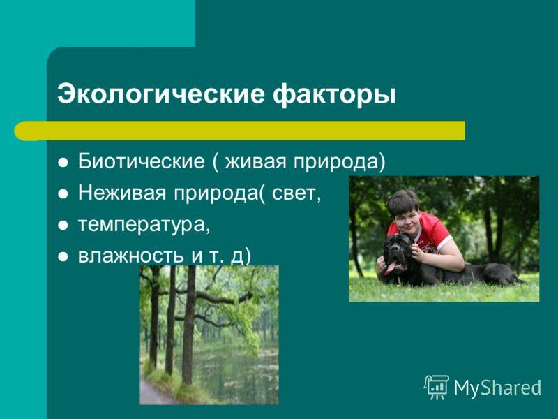 Экологические факторы Биотические ( живая природа) Неживая природа( свет, температура, влажность и т. д)