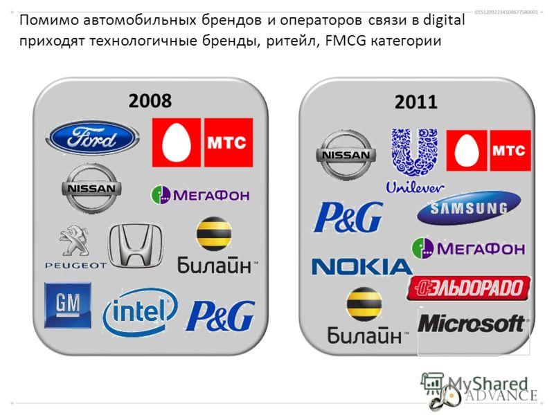 Помимо автомобильных брендов и операторов связи в digital приходят технологичные бренды, ритейл, FMCG категории 2008 2011