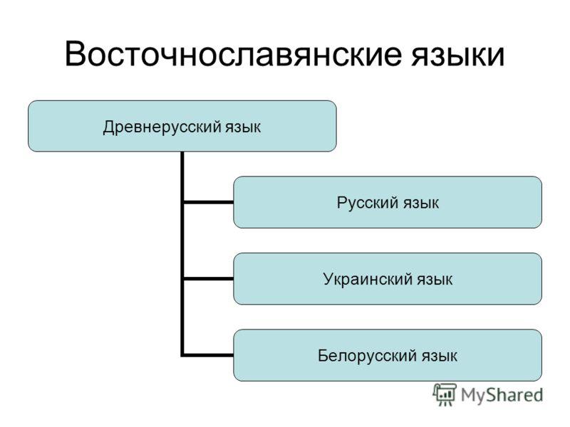 Восточнославянские языки Древнерусский язык Русский язык Украинский язык Белорусский язык