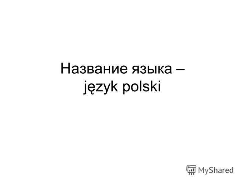 Название языка – język polski