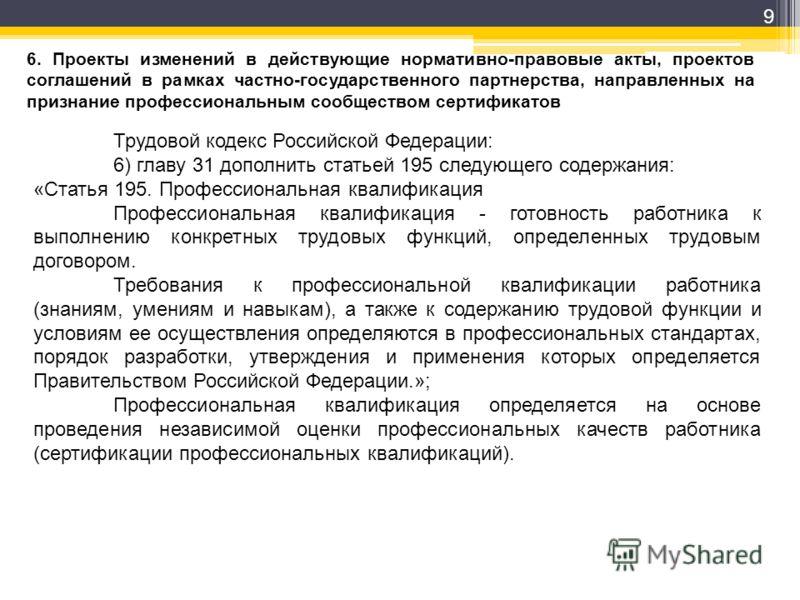 9 6. Проекты изменений в действующие нормативно-правовые акты, проектов соглашений в рамках частно-государственного партнерства, направленных на признание профессиональным сообществом сертификатов Трудовой кодекс Российской Федерации: 6) главу 31 доп