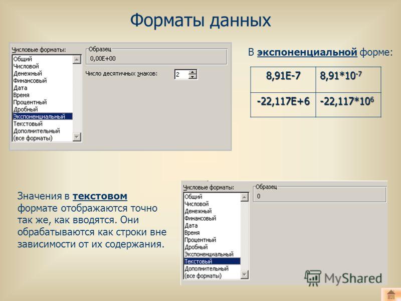 Форматы данных Значения в текстовом формате отображаются точно так же, как вводятся. Они обрабатываются как строки вне зависимости от их содержания. В экспоненциальной форме:8,91Е-7 8,91*10 -7 -22,117Е+6 -22,117*10 6