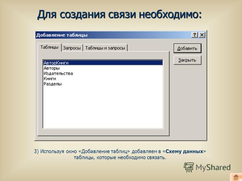 Для создания связи необходимо: 3) Используя окно «Добавление таблиц» добавляем в «Схему данных» таблицы, которые необходимо связать.