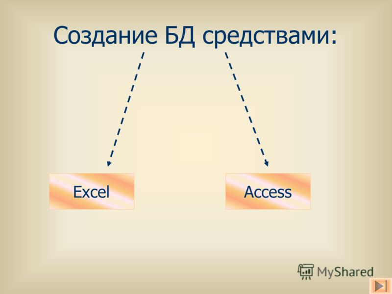 Создание БД средствами: ExcelAccess